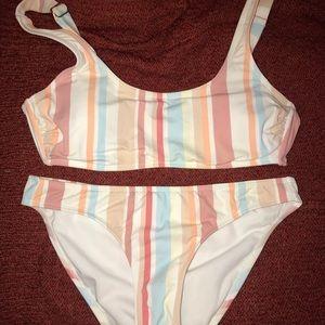 striped scoop neck bikini